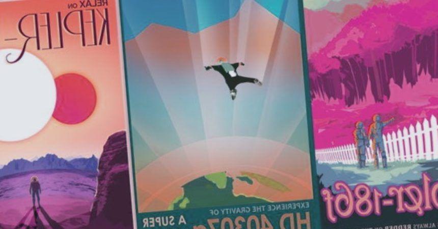 Un cartel invita a los visitantes a experimentar la gravedad de la Super Earth HD 40307g.
